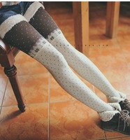 new dots autumn and winter female models stitching snowflake little combed cotton legging pantyhose stockings free shipping