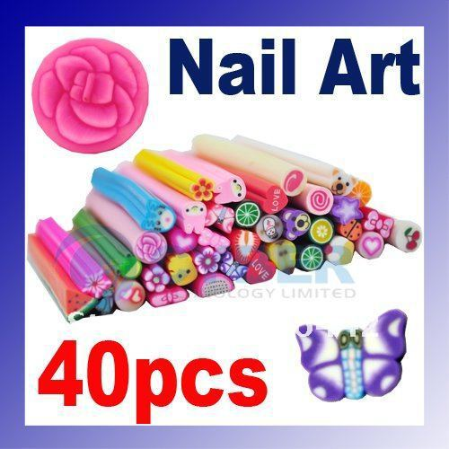 40pcs Polymer Clay Nail Art Cane Stickers Rod Decoration Fruit Flowers Free Shipping(China (Mainland))