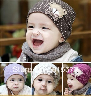 10 pcs/lot 8 colors New style cute fashion baby boy's hat bear love cap kid baby hat infant beanies