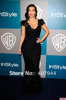 Free shipping kim kardashian black lace floor length deep v-neck mermaid hip slim  red carpet dress/ celebrity dress