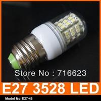 Free Shipping 10pcs/Lot SMD 3528 48 LED 220V LED Spot Light E27 Bulb Lamp 180LM Warm White