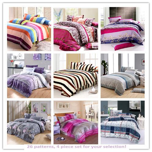 PROMOÇÃO impressão frete grátis Roupa de cama de folhas 4pcs cama conjunto de capa de edredon set Para Varejo e Atacado(China (Mainland))
