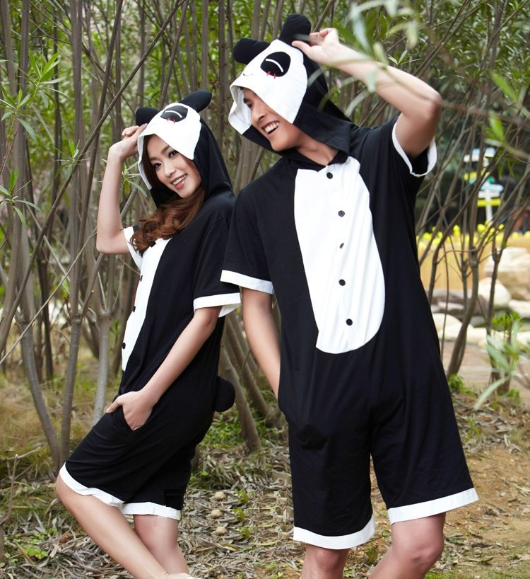 2013 Summer Animal Pajamas One-piece Panda Short-sleeve Lounge Wear Family Cosplay Cartoon Sleepwear Costume Robe 2Design PL0002(China (Mainland))