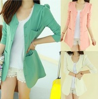 2013 new style autumn spring women's elegant slim all-match medium-long small suit jacket blazer 1pc free shipping