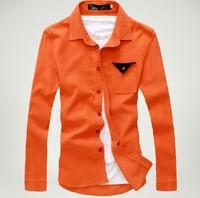 2013 fashion Men's orange color corduroy shirt, 6 color option