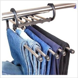 Hot sell free shipping 1pcs/lot Magic trousers hanger/rack multifunction pants closet hangerrack 5 in one