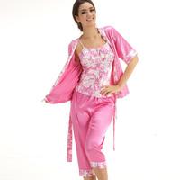 Free shipping women's Summer faux silk women's sleepwear lounge set elegant short-sleeve capris piece set 1069