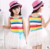 2013 New Arrive summer clothing new Korean children multicolor dress Girls dresses princess veil