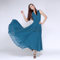 Women's 2013 New Arrive Fashion Chiffon Elegant Slim Sleeveless V-Neck Ruffles Sweet Floor-Length Evening Party Casual Dress