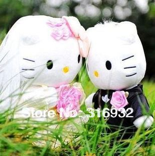 J1 High Quality Wedding Couple Hello Kitty Stuffed Plush Toy wedding souvenirs, 20cm, 1pair