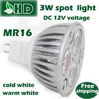 free shipping  1PCS 3W high quality LED Energy-saving  DC 12Vvoltage MR16  base spot light