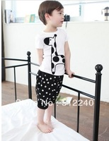 Fress shipping 5pieces/Summer models boy cute zebra shape shirt + shorts two-piece