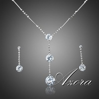 AZORA Hot Sale Platinum Plated Stellux Austrian Crystal Water Drop Earrings and Necklace Jewelry Set TG0037