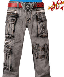 Abc grey male multi-pocket jeans fashion jeans k-204-084 great costume(China (Mainland))