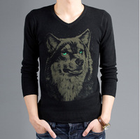 New fashion 2013 men thin sweater Wolf print