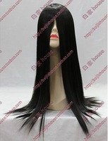 Cosplay wig black long straight hair bangs 60cm high temperature wire anime Role play The performance  free shipping