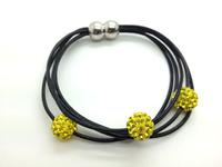 Wholesale 5pcs/lot Yellow/Citrine Genuine Leather Shamballa Bracelet Crystal 10MM Beaded Magnetic Clasps Clay Bracelets