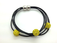 Wholesale 5pcs/lot Yellow/Citrine Genuine Leather Shamballa Bracelet Crystal 10MM Beaded Magnetic Clasps Clay Bracelets