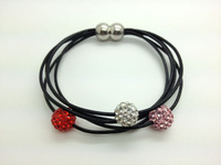 Wholesale 5pcs/lot Mix-color Genuine Leather Shamballa Bracelet Crystal 10MM Beaded Magnetic Clasps Clay Bracelets