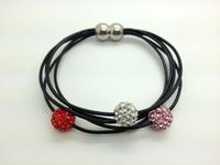 Wholesale 5pcs/lot Mix-color Genuine Leather Shamballa Bracelet Crystal 10MM Beaded Magnetic Clasps Clay Bracelets