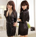 Free shipping 2013  Silk Sexy temptation Women dress clothing set nightgown pajamas women sexy underwear V-neck sleepwear black(China (Mainland))
