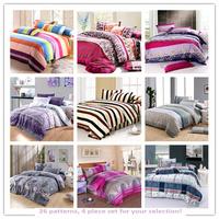 Promotion !!!Free Shipping Microfiber reaPrinting BEDDING Bed Sheets 4pcs Bedding Set duvet cover set