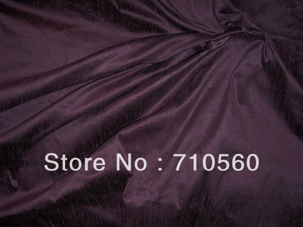 free shipping 100% mulberry pure silk dupion dupioni fabric 16m/m 19m/m solid color blackberry for evening dress wedding dress(China (Mainland))