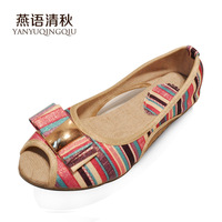 New arrival yanerwo cotton-made shoes stripe open toe low-heeled sandals cutout cow muscle female shoes outsole