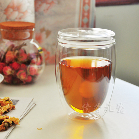 Burdon bodum flower tea cup insulated glass double layer cup glass egg shape double layer glass cup(China (Mainland))