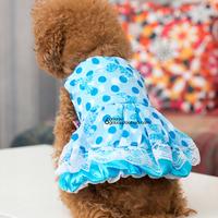 free shipping Powder blue polka dot lace one-piece dress pet clothes summer teddy bear vip