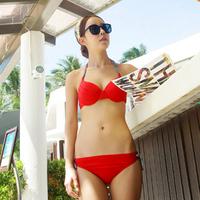 Ladies Swimwear Sexy red bikini 2014 steel push up triangle bikinis Free Shipping  Swimsuit for Girl