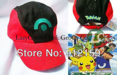 Wholesale promotional items Pokemon Pikachu Ash Katchum Hat Cap Cosplay Anime Baseball cap Sun hat 20pcs(China (Mainland))