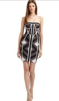 wholesale fashion ladies dress fashion garment top quality Bqueen Strapless Printed Bandage Dress T043E