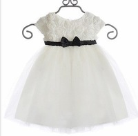 Bow rose tulle dress 2013 children's summer clothing girls  dresses