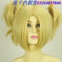 Rainbow cos wig gold 4 horseshoers cosplay