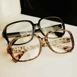 Vintage black-rimmed glasses frame non-mainstream big box leopard print glasses eyeglasses frame