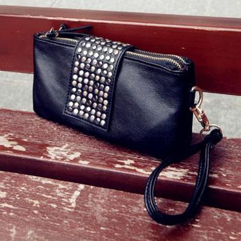 2013 women's spring handbag day clutch tote bag genuine leather bag rivet long evening bag design bag clutch