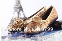2pari - spring new sparkling metallic sequins pointed European style flat shoes shoes