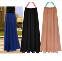 Free Shipping! 2013 Summer New Fashion Women Candy Color Chiffon Pleated Large Vintage Ankle-Length Long Skirt D0883#