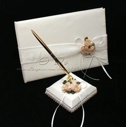 Free Shipping Carnation Wedding Guest Book And Pen Set In White Satin(China (Mainland))