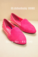 1pari -  Spring 2013 New European and American retro metal rivets level with single shoes leisure shoes women shoes