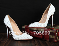 2013 Pigalle Spikes Shoes Patent Leather Red Bottom Pump High Heel studs white spikes wedding dress shoes 12CM heel