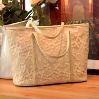 Women's handbag fashion vintage bags cutout crochet big bags lace bag fashion handbag white black free shipping