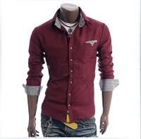 Holiday Sale 2014 Free Shipping New Mens Shirts Casual Slim Fit Stylish Mens Dress Shirts US size M L XL XXL