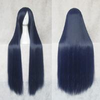 Kuroyukihime 100cm dark blue black long straight synthetic cosplay costume wig,free shipping