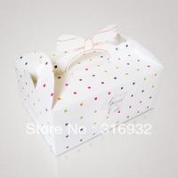 E1 Bow handle Polka printed cake packaging box, 20pcs/lot