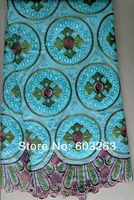 Free shipping 2013-New Swiss voile lace  high quality african lace big lace 100%cotton (9031)aqua