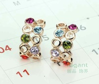 Free Shipping Fashion jewelry 2013 Italina 18K Rose Gold Plated Austrian Crystal Earrings wholesale Birthday gift