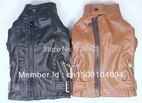 Free Shipping 2014  NEW Quality Autumn Winter Dog Pet Clothes Dog Jacket Leather Coat