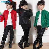 Spring and autumn children's clothing female child leather clothing jacket child diamond design slim short leather jacket